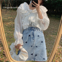 Fashion suit Spring 2021 S. M, l, XL, one size, one size + s, one size + m, one size + L White shirt, blue skirt, white shirt + blue skirt 18-25 years old 30% and below