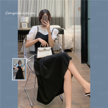 Dress Summer 2021 White, blue M, L Mid length dress Two piece set Short sleeve commute V-neck High waist Solid color Socket A-line skirt puff sleeve 25-29 years old Type A Korean version