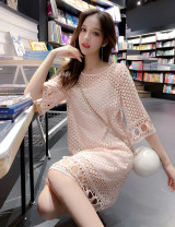 Dress Summer 2021 White, pink S,M,L,XL Middle-skirt Two piece set Short sleeve Sweet Crew neck High waist Solid color Socket A-line skirt routine Others 25-29 years old Type H Hole, hook flower, hollow out 71% (inclusive) - 80% (inclusive) Lace Cellulose acetate Mori