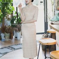 cheongsam Autumn of 2019 S (spot), m (spot), l (spot), XL (spot), XXL (spot) Short sleeve long cheongsam Retro Low slit daily Oblique lapel The language of the Tang Dynasty
