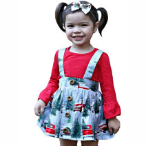 suit Kids Tales gules Size 80 suggests height 75-80, Size 90 suggests height 80-85, size 100 suggests height 85-90, Size 110 suggests height 90-100, Size 120 suggests height 100-110 female spring and autumn Europe and America Long sleeve + skirt 2 pieces routine There are models in the real shooting