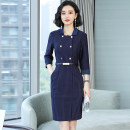 Dress Autumn of 2019 Blue Stripe Dress S,M,L,XL,2XL,3XL Mid length dress singleton  three quarter sleeve commute square neck middle-waisted stripe Socket One pace skirt routine Others 25-29 years old Type X Korean version Pockets, panels, buttons 51% (inclusive) - 70% (inclusive) brocade cotton