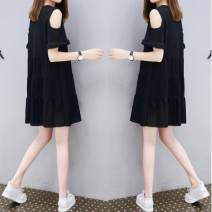 Dress Spring 2021 M,L,XL,2XL,3XL Short skirt singleton  Short sleeve commute Crew neck Loose waist Solid color Lotus leaf sleeve Hanging neck style 18-24 years old Korean version 71% (inclusive) - 80% (inclusive) cotton