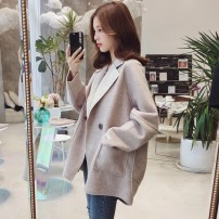 Women's large Winter 2020 Blue, oatmeal, pink S, m, l, XL, 2XL, 3XL woolen coat singleton  commute Straight cylinder thick Cardigan Long sleeves Solid color Korean version other Medium length wool routine LI666 Other / other 25-29 years old pocket 71% (inclusive) - 80% (inclusive)