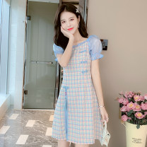 Dress Summer 2020 Blue check S,M,L,XL Mid length dress Fake two pieces Short sleeve commute Crew neck middle-waisted lattice zipper A-line skirt Horn sleeve Type A Korean version Bowknot, Auricularia auricula, stitching 81% (inclusive) - 90% (inclusive) Chiffon
