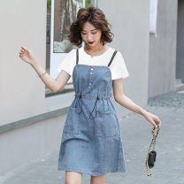 Dress Summer 2021 White, black S,M,L,XL,2XL,3XL Middle-skirt singleton  Short sleeve commute Polo collar High waist Solid color Socket A-line skirt routine Others Type A Pleats, pockets, lace UPS, stitching 91% (inclusive) - 95% (inclusive) Denim cotton