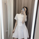 Dress Summer 2020 Picture color S,M,L Short skirt singleton  Short sleeve commute Crew neck High waist 18-24 years old Type A T1376-2