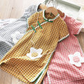 Dress female Other / other 90cm,100cm,110cm,120cm,130cm,140cm,150cm,160cm Cotton 100% summer Chinese style Short sleeve lattice Pure cotton (100% cotton content) A-line skirt Class B 18 months, 2 years old, 3 years old, 4 years old, 5 years old, 6 years old, 7 years old, 8 years old, 9 years old