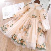 Dress spring and autumn Korean version other Patchwork Broken flower Class B female Other / other Other 100% 2, 3, 4, 5, 6, 7, 8, 9, 10, 11, 12, 13, 14 Long sleeve 10230 Beige, pink 100cm,110cm,120cm,130cm,140cm,150cm