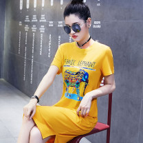 Dress Summer 2020 Black, yellow M [recommend 105 kg, l [recommend 105-115 kg, XL [recommend 115-125 kg, 2XL [recommend 125-135 kg, 3XL [recommend 135-150 kg, 4XL [recommend 150-170 kg] longuette singleton  Short sleeve commute Crew neck Loose waist Animal design Socket other routine Others Type H