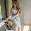 Nightdress Zinny Green, apricot, grey, black, beige 160 (m), 165 (L), 170 (XL), 175 (XXL), cotton nightgown with open pockets on both sides Cartoon Sleeveless pajamas longuette summer Cartoon animation youth Crew neck cotton printing More than 95% pure cotton 200g and below