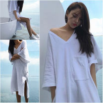 Nightdress Other / other V-neck white, V-neck black, off shoulder white, off shoulder black 160(M),165(L),170(XL),175(XXL) sexy three quarter sleeve Leisure home longuette summer Solid color juvenile V-neck cotton Sticking cloth More than 95% pure cotton 200g and below