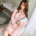 Nightdress Other / other White, pink 160(M),165(L),170(XL),175(XXL) Sweet Long sleeves Leisure home longuette autumn Solid color youth Small lapel cotton Button decoration More than 95% Knitted cotton fabric Z1902 220g