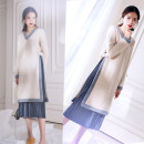 Dress Other / other Picture color M,L,XL,XXL Korean version Long sleeves Medium length autumn Crew neck Solid color