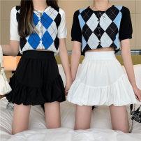 skirt Spring 2021 S,M,L,XL White, black Short skirt commute High waist A-line skirt lattice Type A 18-24 years old 6901# polyester fiber Button