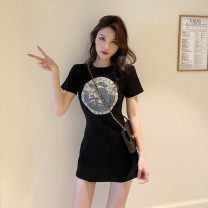 Dress Spring 2021 black Average size Short skirt singleton  Short sleeve commute Crew neck High waist Solid color Socket A-line skirt routine Others 18-24 years old Type A Korean version 81% (inclusive) - 90% (inclusive) cotton