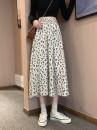 skirt Spring 2021 S [90-100kg], m [100-110kg], l [110-120kg], XL [120-135kg], 2XL [135-150kg], 3XL [150-165kg], 4XL [165-175kg], 5XL [175-200kg] Black, off white Mid length dress commute High waist A-line skirt Broken flowers Type A 18-24 years old Korean version