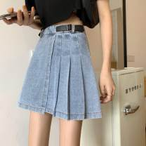 skirt Summer 2020 S (90-100kg), m (100-110kg), l (110-120kg), XL (120-135kg), 2XL (135-150kg), 3XL (150-165kg), 4XL (165-175kg), 5XL (175-200kg) blue Short skirt commute High waist Pleated skirt Solid color Type A 18-24 years old Korean version