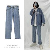 Jeans Autumn 2020 blue S,M,L,XL,2XL,3XL,4XL,5XL trousers High waist routine 18-24 years old Old, wash, button Cotton denim light colour 51% (inclusive) - 70% (inclusive)