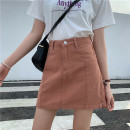 skirt Summer 2020 S [90-100 Jin], m [100-110 Jin], l [110-120 Jin], XL [120-135 Jin], 2XL [135-150 Jin], 3XL [150-165 Jin], 4XL [165-175 Jin], 5XL [175-200 Jin] White, orange Short skirt commute High waist A-line skirt Type A 18-24 years old Denim Coardiarn / Kuandian Korean version