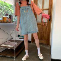 Dress Summer 2020 Blue, charcoal black Middle-skirt singleton  Sleeveless commute Loose waist straps 18-24 years old Type H Korean version