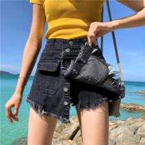 Jeans Summer of 2019 Light blue, dark grey S [90-100 kg], m [100-110 kg], l [110-120 kg], XL [120-135 kg], 2XL [135-150 Jin], 3XL [150-165 kg], 4XL [165-175 Jin], 5XL [175-200 Jin] shorts High waist Wide legged trousers routine 18-24 years old light colour Coardiarn / Kuandian