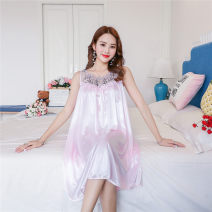 Nightdress Other / other 806 ﹥ light purple, 806 ﹥ watermelon red, 806 ﹥ bean paste, 806 ﹥ sky blue, 806 ﹥ rose red, 806 ﹥ big red, 806 ﹥ medium pink, 806 ﹥ deep purple, 806 ﹥ color blue, 806 ﹥ light pink Sweet Sleeveless Leisure home longuette summer Solid color middle age Crew neck Iced silk silk