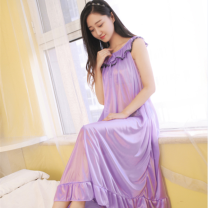 Nightdress Other / other 818 big red, 818 black, 818 light purple, 818 dark blue, 818 watermelon red, 818 medium pink, 818 purple Sweet Sleeveless Leisure home longuette summer Solid color middle age Crew neck Iced silk lace silk