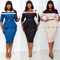 Dress Winter 2016 Black, blue, beige S,M,L,XL,XXL,XXXL Middle-skirt Two piece set Crew neck High waist Solid color zipper Pencil skirt