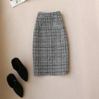 skirt Winter 2017 S,M,L,XL,2XL dark grey Middle-skirt commute High waist Suit skirt lattice 30% and below Wool wool Korean version