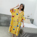 Nightdress Other / other Average size Sweet Short sleeve Leisure home longuette summer Cartoon animation youth Small lapel cotton One piece More than 95% Woven cotton fabric SCL