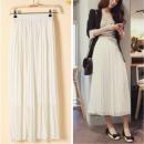skirt Summer 2016 S,M,L,XL,2XL White, black Mid length dress Versatile High waist A-line skirt Solid color Type H 91% (inclusive) - 95% (inclusive) Chiffon cotton Pleating 101g / m ^ 2 (including) - 120g / m ^ 2 (including)
