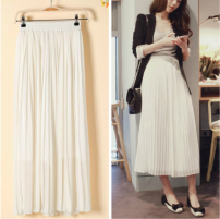 skirt Summer 2016 S,M,L,XL,2XL White, black Mid length dress Versatile High waist A-line skirt Solid color Type H 91% (inclusive) - 95% (inclusive) Chiffon cotton Pleating 101g / m ^ 2 (including) - 120g / m ^ 2 (including)