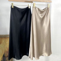 skirt Summer 2021 S,M,L Mid length dress commute Natural waist Suit skirt Solid color Type O 91% (inclusive) - 95% (inclusive) Silk and satin Cellulose acetate Bright silk Ol style