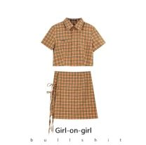 Fashion suit Summer 2021 S,M,L,XL Orange Plaid top, orange plaid skirt, black top, black skirt 18-25 years old 31% (inclusive) - 50% (inclusive) polyester fiber