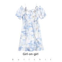 Dress Summer 2021 Blue and white regular short, blue and white long skirt, blue and white top XS,S,M,L,XL Middle-skirt singleton  Short sleeve commute Crew neck Elastic waist Solid color Socket other routine Others 18-24 years old Type H 31% (inclusive) - 50% (inclusive) other cotton