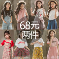 suit Other / other 110cm,120cm,130cm,140cm,150cm,160cm female spring and autumn leisure time Short sleeve + pants 2 pieces Thin money There are models in the real shooting Socket nothing other cotton friend birthday Class B Flax 100% 10, 11, 12, 3, 4, 5, 6, 7, 8, 9