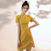 cheongsam Summer 2021 S,M,L,XL Yellow background decor Short sleeve Low slit Decor 18-25 years old Piping