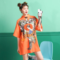 Dress Summer 2021 Orange beauty, Black Retro S,M,L,XL,2XL Middle-skirt singleton  Short sleeve stand collar character routine 18-24 years old Type H 81% (inclusive) - 90% (inclusive) other polyester fiber