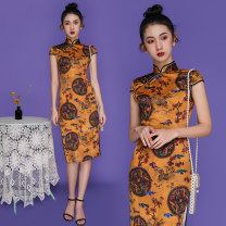 cheongsam Summer 2021 S,M,L,XL,2XL Short sleeve long cheongsam ethnic style Low slit Animal design 18-25 years old Piping polyester fiber 51% (inclusive) - 70% (inclusive)