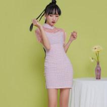 cheongsam Spring 2021 S,M,L,XL Pink, green Short sleeve Short cheongsam Retro Low slit daily Oblique lapel lattice 18-25 years old Piping