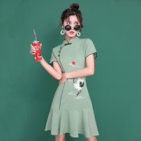 cheongsam Summer 2021 XXL,S,M,L,XL Green crane Short sleeve Short cheongsam ethnic style No slits daily Round lapel Animal design 18-25 years old Piping Other / other polyester fiber 31% (inclusive) - 50% (inclusive)