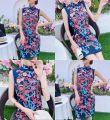 cheongsam Summer 2021 S,M,L Navy Blue Sleeveless long cheongsam Retro Low slit daily Oblique lapel Decor 18-25 years old Piping hemp 51% (inclusive) - 70% (inclusive)