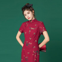 cheongsam Summer 2020 S,M,L Picture color Short sleeve Low slit Oblique lapel scenery 18-25 years old Piping cotton