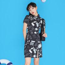 cheongsam Summer 2021 S,M,L,XL Picture color Short sleeve Low slit Oblique lapel 18-25 years old