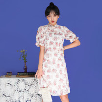 cheongsam Summer 2021 S,M,L,XL Decor Short sleeve Retro Low slit 18-25 years old A512 Brocade