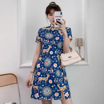 cheongsam Summer 2021 XXL,XXXL,M,L,XL,4XL blue Short sleeve Short cheongsam grace No slits daily Oblique lapel lattice 18-25 years old Piping cotton 81% (inclusive) - 90% (inclusive)
