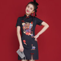 cheongsam Spring 2021 S,M,L,XL black Short sleeve Short cheongsam Retro Low slit daily Oblique lapel Decor 18-25 years old Piping polyester fiber
