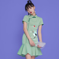 cheongsam Spring 2021 S,M,L,XL Picture color Short sleeve Short cheongsam Retro No slits daily Oblique lapel Solid color 18-25 years old Piping