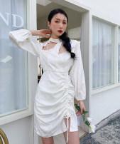 Dress Spring 2021 white XS,S,M,L Short skirt singleton  Long sleeves commute High waist 18-24 years old Korean version 9072#